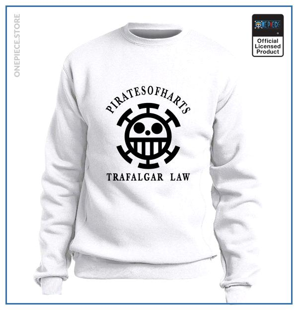 One Piece Sweater Heart Pirates OP1505 White / S Official One Piece Merch