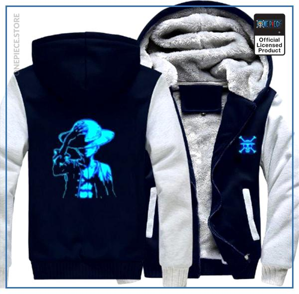One Piece Jacket  Luffy LED (White & Blue) OP1505 S Official One Piece Merch