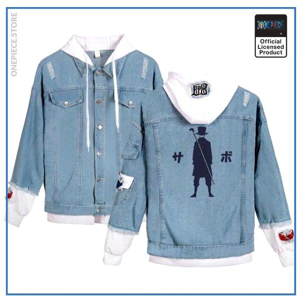 One Piece Jean Jacket  Sabo OP1505 White / S Official One Piece Merch