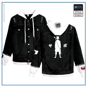 One Piece Jean Jacket  Sabo (Black) OP1505 White / S Official One Piece Merch