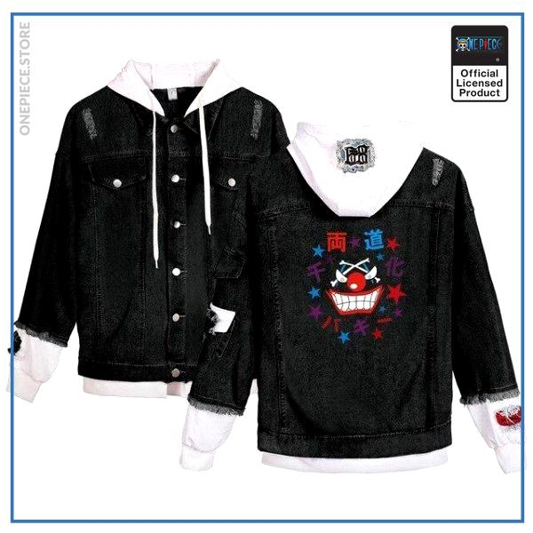 One Piece Jean Jacket  Buggy the Clown (Black) OP1505 White / S Official One Piece Merch