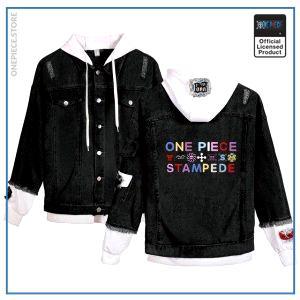 One Piece Jean Jacket <br> Stampede Movie (Black) OP1505 White / S Official One Piece Merch