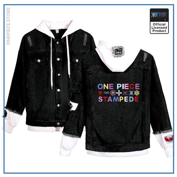 One Piece Jean Jacket  Stampede Movie (Black) OP1505 White / S Official One Piece Merch