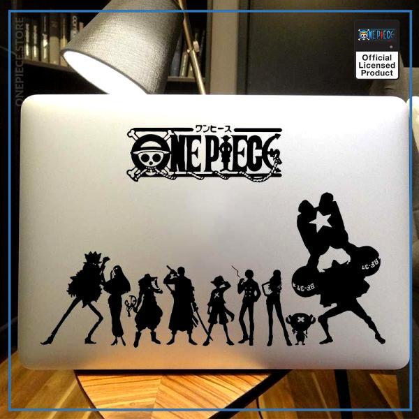 One Piece Laptop Sticker  Straw Hat Crew OP1505 Custom Size / Black Official One Piece Merch