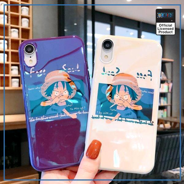 One Piece iPhone Case  Kid Luffy  (Blue Ray Effect) OP1505 for 6 and 6s / White Official One Piece Merch