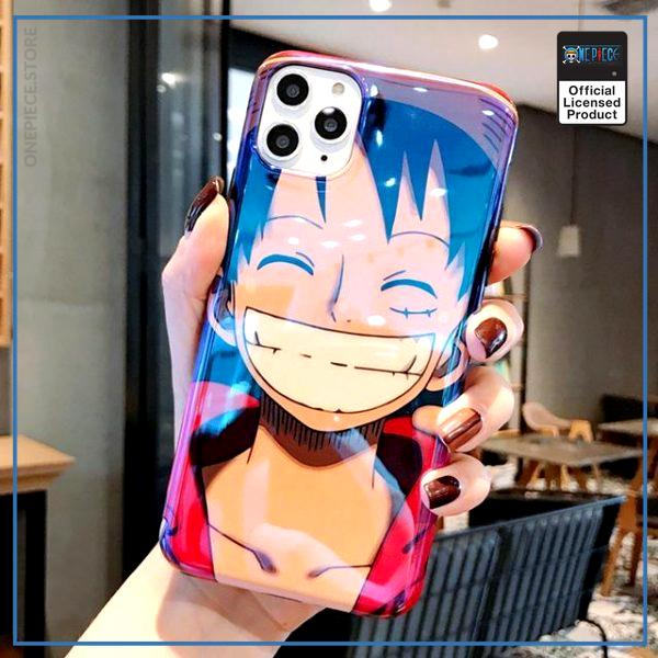 One Piece iPhone Case  Smiling Luffy  (Blue Ray Effect) OP1505 for 6 and 6s Official One Piece Merch