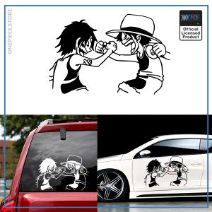 One Piece Car Sticker  Luffy and Ace OP1505 Black / S 12cm X 18cm Official One Piece Merch