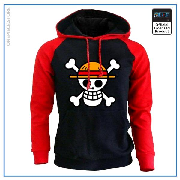 One Piece Hoodie  Straw Hat Jolly Roger OP1505 Red / S Official One Piece Merch