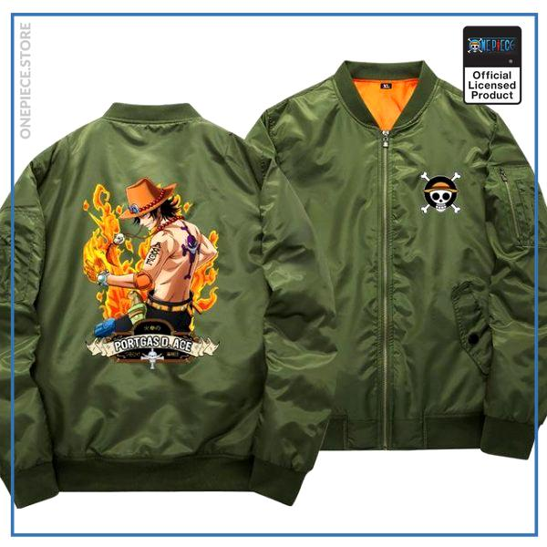 One Piece Bomber Jacket  Ace (Green) OP1505 S Official One Piece Merch