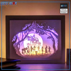 One Piece Night Lamp  Straw Hats and Thousand Sunny OP1505 White Wooden Frame Official One Piece Merch