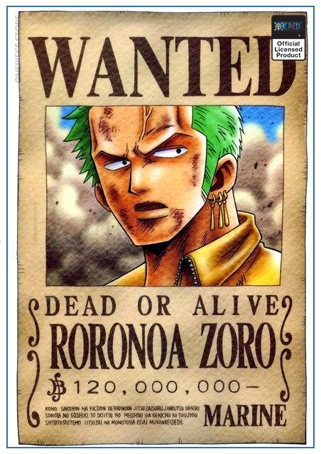 One Piece Wanted Poster  Roronoa Zoro Bounty OP1505 30cmX21cm Official One Piece Merch