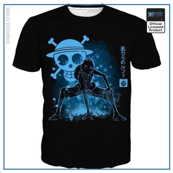 One Piece Shirt  Luffy Blue Aura OP1505 S Official One Piece Merch