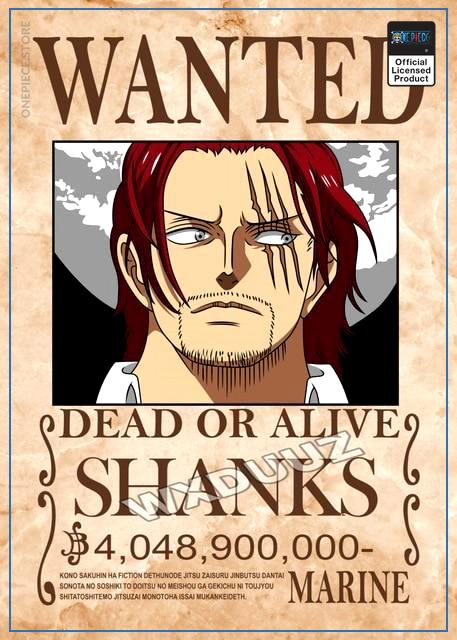 One Piece Wanted Poster  Shanks Bounty OP1505 21cm X 30cmme Official One Piece Merch