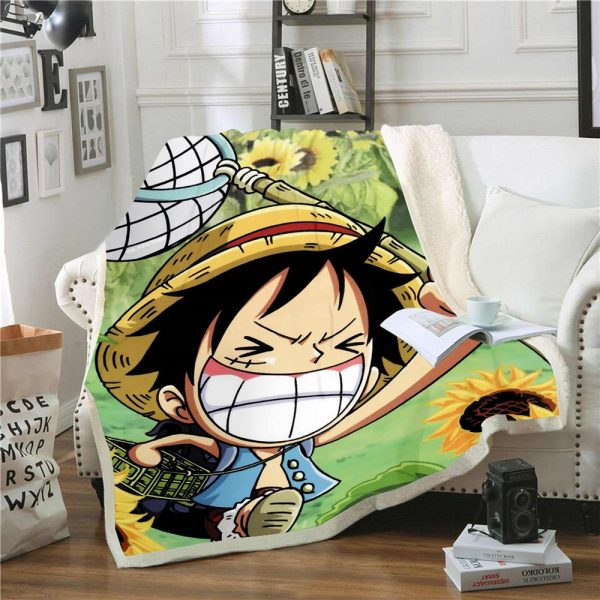 Anime One Piece 3D Printing Plush Fleece Blanket Adult Fashion Quilts Home Office Washable Duvet Casual 1 - One Piece Store